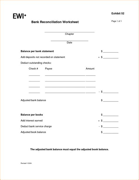 Bank Reconciliation Worksheet For Students Lesupercoin Printables Worksheets Monthly Reconciliation Template