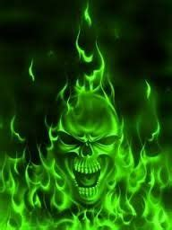 green flaming skull wallpaper gallery
