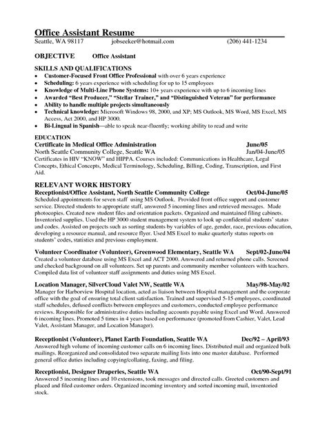 resume format for office assistant 28 images sle of