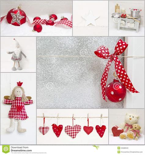 Christmas Candy Centerpieces - collage of red and white christmas decoration stock photos image 34588343