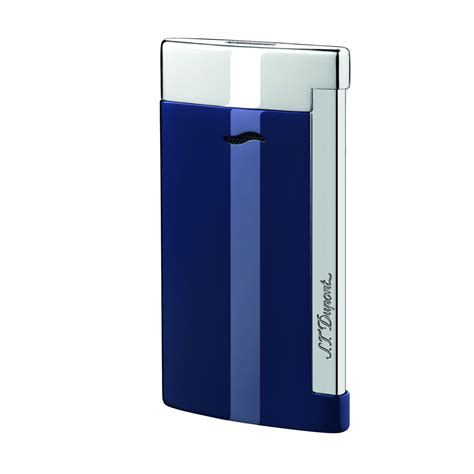 St Dupont Lighter st dupont slim 7 flat torch lighter blue and chrome
