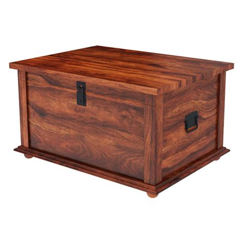 Wood Trunk Coffee Table Rustic Primitive Solid Wood Storage Trunk Coffee Table New