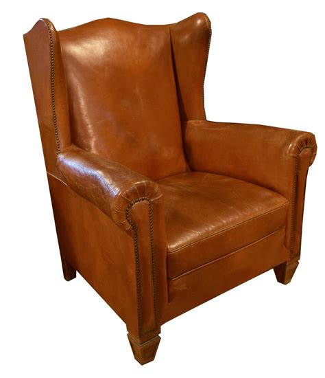 Leather Wingback Recliner Sale by Italian Leather Wingback Chair For Sale At 1stdibs