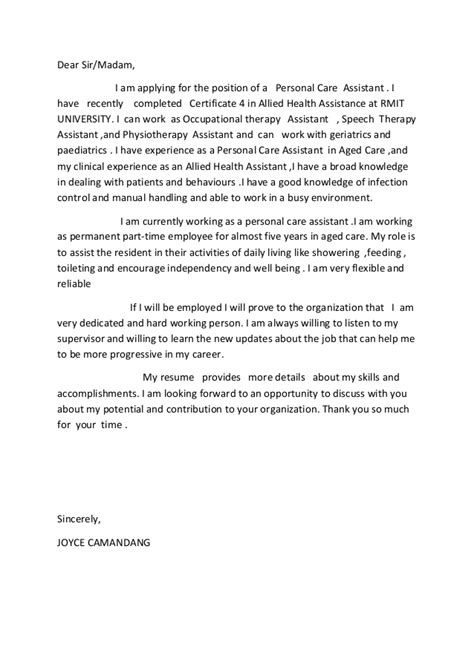Occupational Health Therapist Cover Letter by Allied Health Assistance Cover Letter