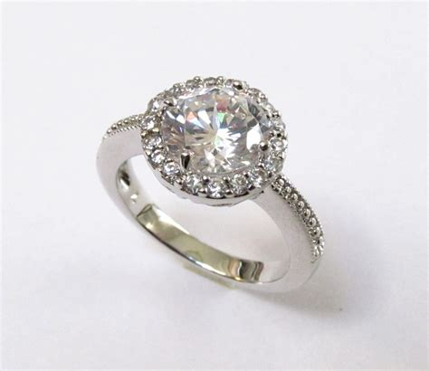 halo cz ring rhodium plated cz wedding ring sizes 7 to 9