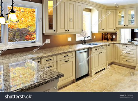 Modern Luxury Kitchen With Granite Countertop Modern Luxury Kitchen Interior With Granite Countertop Stock Photo 21200650