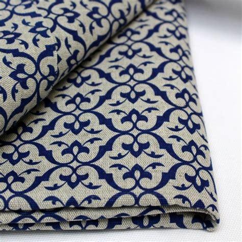 modern curtain fabric uk brita cobalt blue patterned linen mix fabric