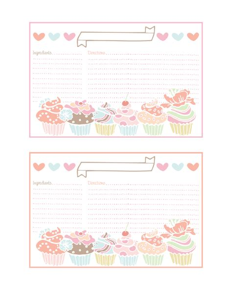 printable recipes for cupcakes cupcake recipe cards and more all free recipe cards