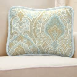 blue and taupe paisley decorative pillow rectangular
