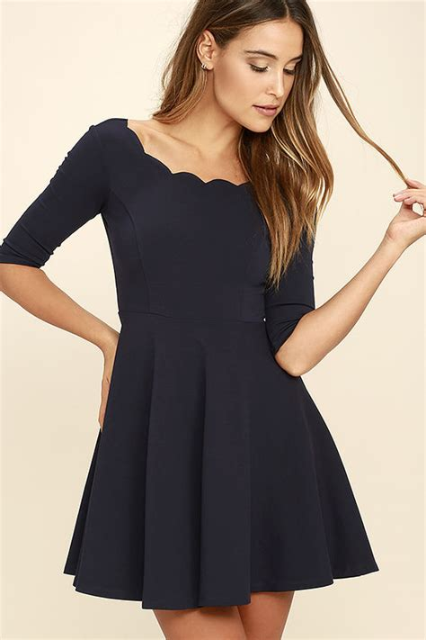 lulu s cute navy blue dress scalloped dress skater dress 46 00
