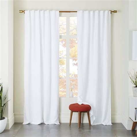 blackout white curtains belgian flax linen curtain white west elm