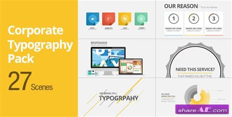 after effects templates free typography corporate typography pack after effects project