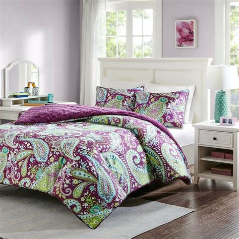 purple green yellow paisley full queen comforter shams toss pillows pcs ebay