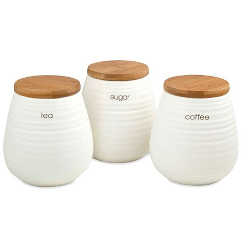 Red Kitchen Canisters Sets by Davis Amp Waddell Tea Coffee And Sugar Canister Set 3pce