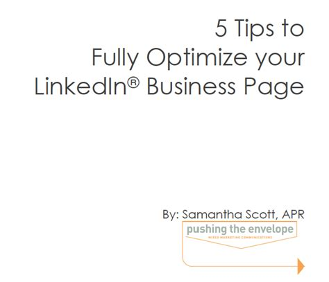 5 tips to fully optimize your linkedin business page