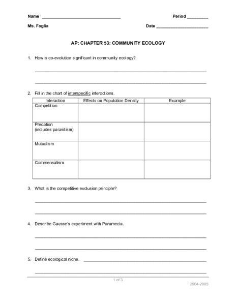 Ecology Worksheet Answers by Image Gallery Ecology Worksheets