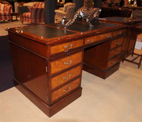 Regency Desk Walnut Pedestal Desks Office Furniture Pedestal Office Desk