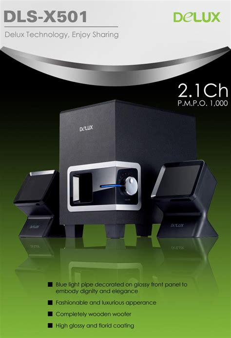 delux 2 1 channel system speaker dls x501 with 1000 pmpo