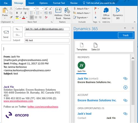 the microsoft dynamics 365 app for outlook encore