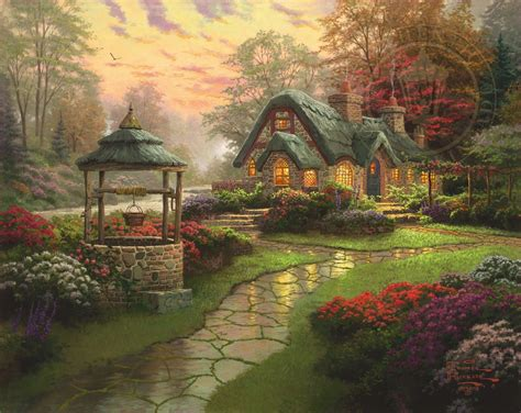 Make A Wish Cottage The Thomas Kinkade Company Cottage Paintings By Kinkade