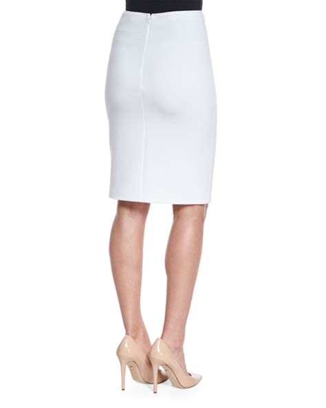 white knit pencil skirt armani collezioni ribbed jersey knit pencil skirt white