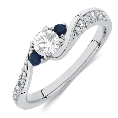 Three Engagement Ring by Three Engagement Ring With Sapphire 1 2 Carat Tw