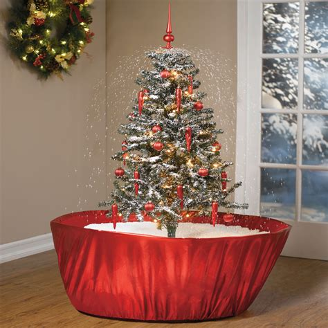 photos of atrificial christmas tress with snow tabletop snowing tree thegreenhead