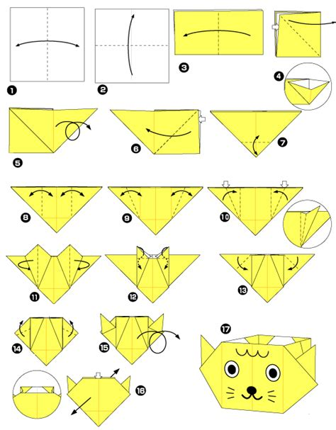 Origami Chat - diagramme d origami de bo 238 te chat paper crafts