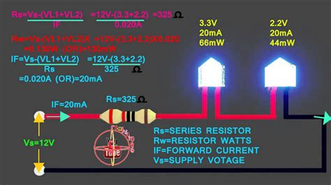1 watt led resistor calculator 3 3v 2 2v led how to connect 12v circuit how to calculate led series resistor watts volt s