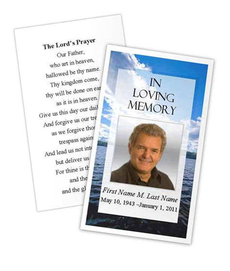 prayer card template microsoft word wade in water prayer card template funeral card