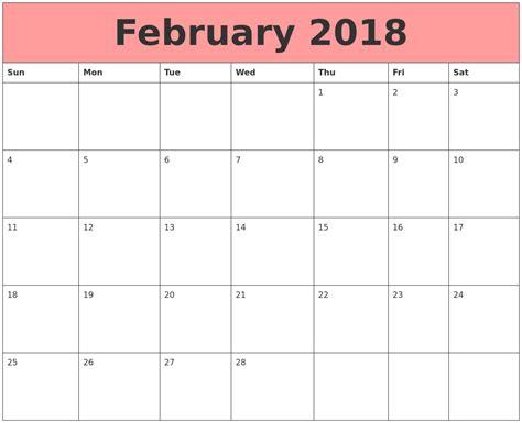 Calendar That Work February 2018 Calendars That Work