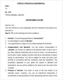 Appointment Letter Format Of Bank 25 Appointment Letter Templates Free Sample Example