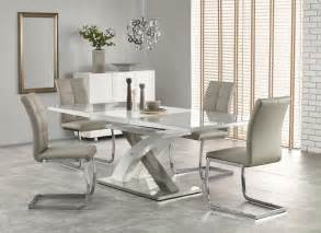 White Glass Extending Dining Table Raul Ii 160 Cm Grey Glass White High Gloss Mdf Modern Extendable Dining Table Ebay