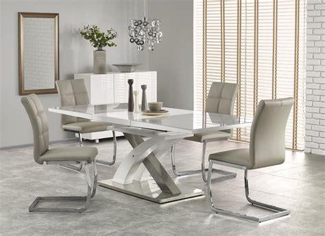 glass top esszimmertisch raul ii 160 cm grey glass white high gloss mdf modern