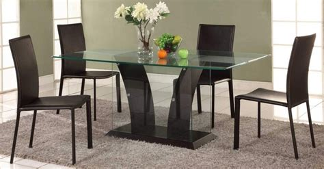 Extravagant Rectangular Wooden And Clear Glass Top Leather Glass Table Dining Room Sets
