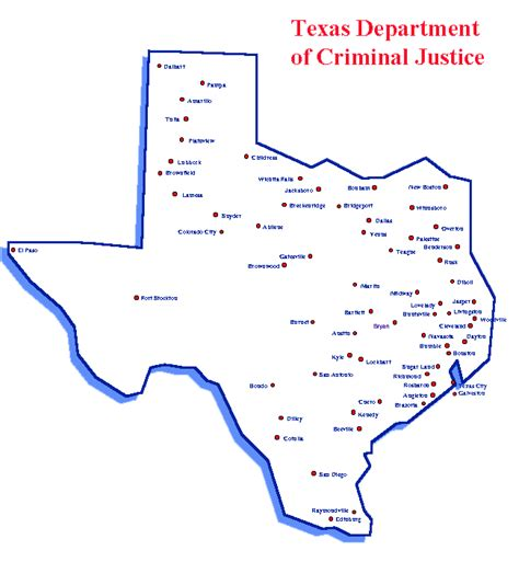 texas prisons map unit directory region type of facility map