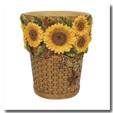 sunflower bathroom accessories sunflowers wastebasket wastebasket from sunflowers by