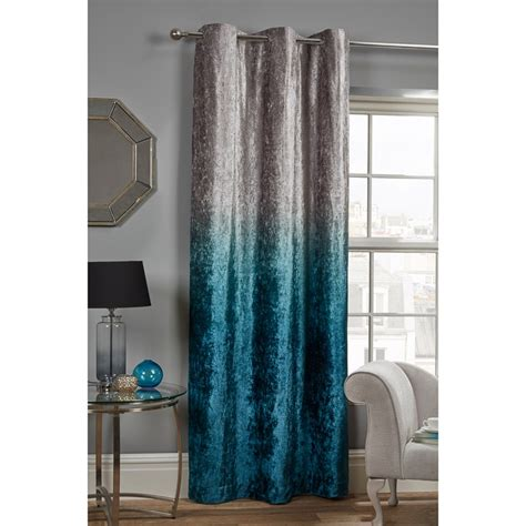 teal velvet curtains ombre crushed velvet panel 54 x 86 quot curtains b m