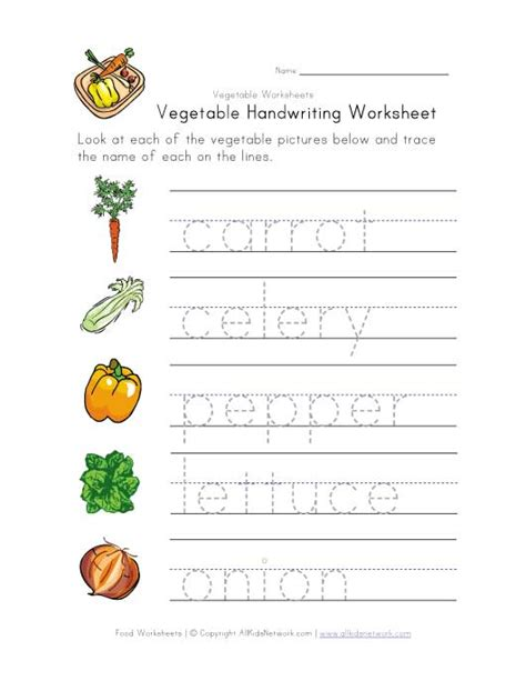 worksheets for preschoolers on fruits and vegetables vegetable writing worksheet mfw k vegetables