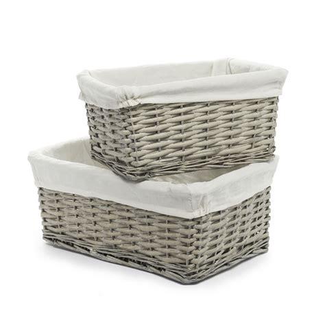 storage baskets wilko willow storage basket grey set of 2 at wilko com