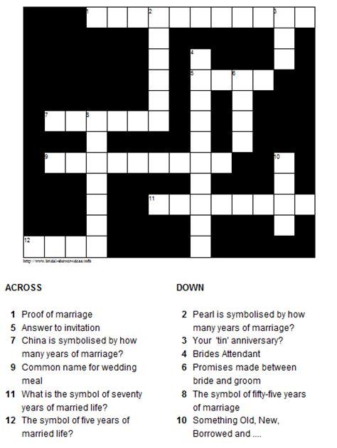 printable bridal shower crossword puzzle bridal shower trivia crossword
