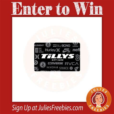 Tilly S Gift Card - win a 500 tilly s gift card julie s freebies
