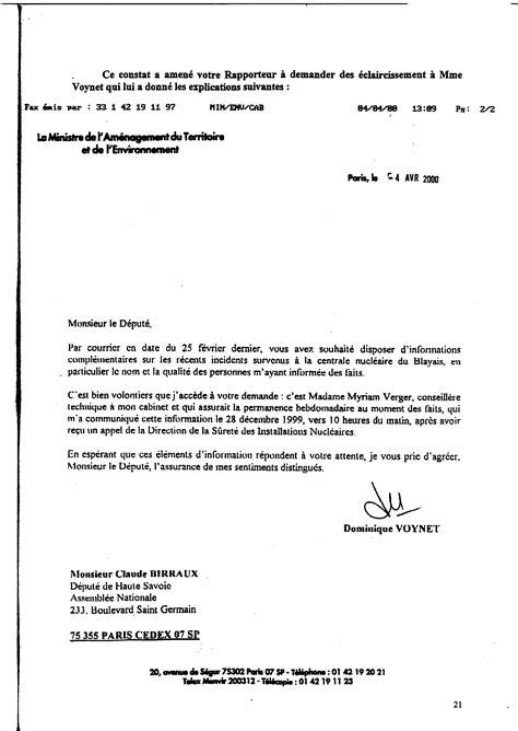 Demande De Renseignements Lettre Rapport Sur Le Contr 244 Le De La Suret 233 Et De La S 233 Curit 233 Des Installations Nucl 233 Aires