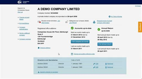Template Companies House webfiling company overview demo