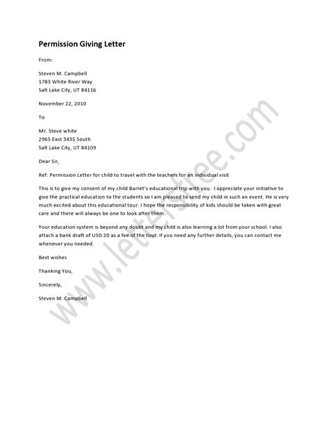 Permission Letter To Use School Grounds a permission giving letter is written to allow an