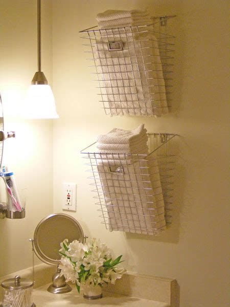 bathroom wall storage baskets bathroom towel storage 12 quick creative inexpensive ideas