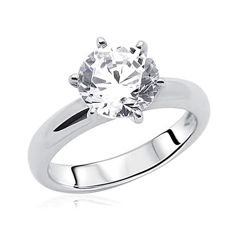 8mm rhodium plated silver wedding ring cz classic
