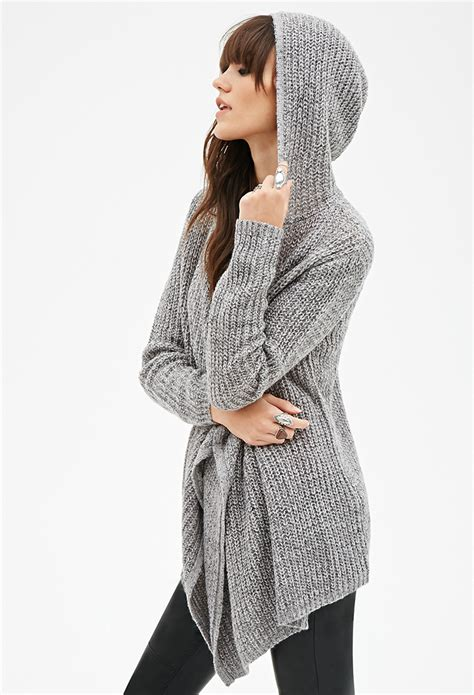 Hooded Open Front Cardigan forever 21 draped open front hooded cardigan in gray lyst