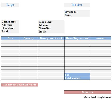invoice template for self employed invoice template self employed images