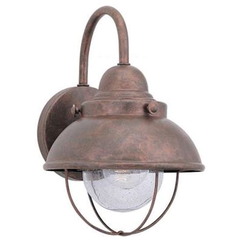 Outdoor Copper Light Fixtures Sea Gull Lighting Sebring 1 Light Weathered Copper Outdoor Wall Fixture 8870 44 The Home Depot